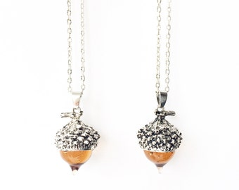 Autumn Acorn Glass Necklace