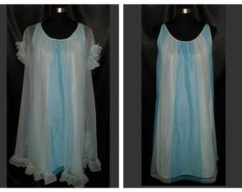 Adorable Vintage 1960's Lorraine Contrasting Blue Chiffon Babydoll Peignoir & Nightgown Set S