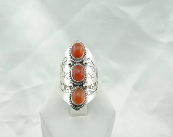 Eye Catching Long Carnelian Agate Sterling Silver Hand Made Ring Size 8 1/2  #CARNELIAN-SR3