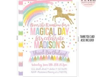 Magical Unicorn Birthday Invitation Rainbow Unicorn Birthday Invitation  Unicorn Invitation Unicorn Party Pink Gold Unicorn Birthday Party