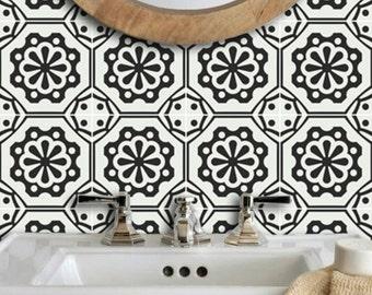 Testino Italian Black and Off White Wallpaper - Removable Vinyl Wallpaper - Peel & Stick - No Glue, No Mess