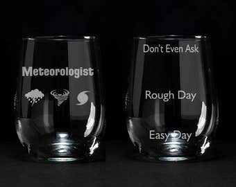 Meteorologist Gift, Gift for Meteorologist, Etched Weather Wine Glass, Weather Girl Gift, Weather Man Gift, Meteorologist Wine Glass