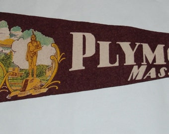 Genuine Vintage 1950s Souvenir Felt Pennant Plymouth, Mass— Free Shipping!