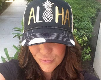 Aloha Trucker Hat Baseball Cap Snap Back