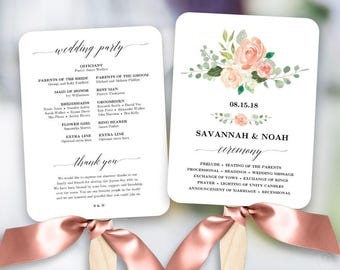 Peach Blush Floral Wedding Program Fan Template Printable Programs DIY Fans
