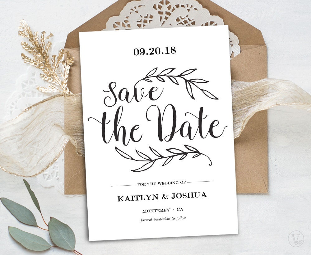 printable save the date card template kraft save the date