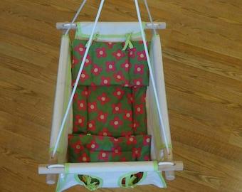 Organic Baby Swing, Indoor Swing, Outdoor Swing, Organic Swing, Organic Canvas Indoor / Outdoor Baby And Toddler Swing w Cushion - Flowers