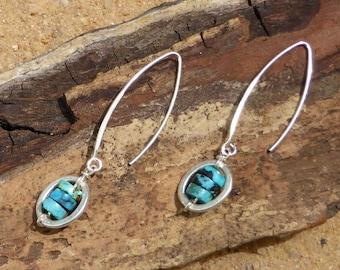 Turquoise Earrings Hill Tribe Silver Jewellery Sterling Silver Delicate Unique Gemstone Modern Designer Earrings Artisan Sleek Minimalist