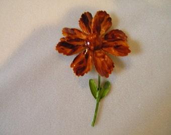 Vintage Brown Enamel Flower Pin