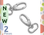 3/4 Inch Shiny Nickel Oval Gate Swivel Snap Hook, 2 Piece Pack, Purse Clips, Handbag Bag Making Hardware Supplies, SNP-AA145 New Item