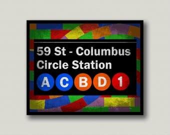 New York City, Columbus Circle, Subway, Sol Lewitt, Printable Art, Instant Download