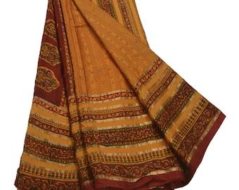 KK Printed Saree Pure Silk Craft Yellow Fabric Zari Border Sari