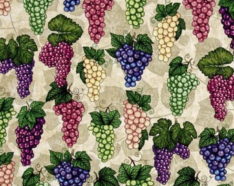 "Wine Grapes on a Vine Valance Curtain 42"" W x 13"" L"