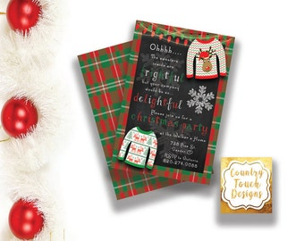 Ugly Tacky Sweater Party Invitation Christmas Holiday Red Green Plaid Digital Download Chalk Print