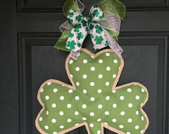 St. Patrick's Day Burlap Door Hanger - Shamrock Door Hanger - St. Patrick's Day Door Hanger