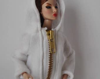 White Fleece Hoodie and Pants Outfit Handmade Fashion Doll Clothes This is not a product or Endorsement of Mattel Barbie Clothes     #58