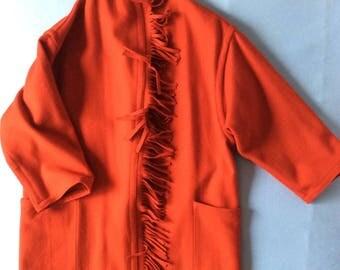 Red wool fringe american  vintage coat