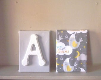 Set of 2 canvas under the theme of the letter alphabet birds