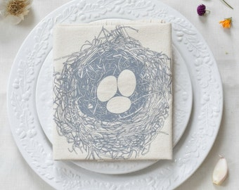 Nest Tea Towel - Easter Tea Towel - Flour Sack Towel - Cotton Dishcloth - Cotton Tea Towels - Tea Towel Flour Sack - Woodland Kitchen - Bird