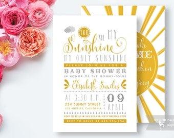 You Are My Sunshine Baby Shower Invitation |  Digital File Printable Yellow Grey Invite Card - DIY Customizable