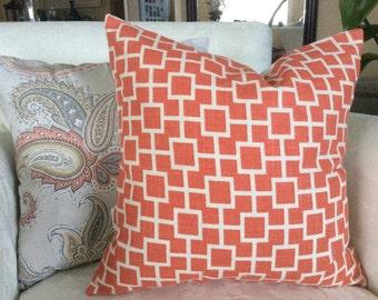 Orange Pillow Cover, Papaya Pillow, Cat's Cradle Pillow, White Pillow, Buttoned Pillow Cover, 18x18 Decorative Pillow, Accent Pillow, Accent