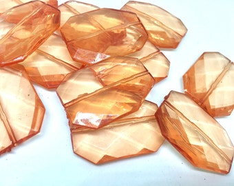 ORANGE Faceted 39mm acrylic beads, ORANGE beads, big brown beads, plastic chunky craft supplies for wire bangle or jewelry making