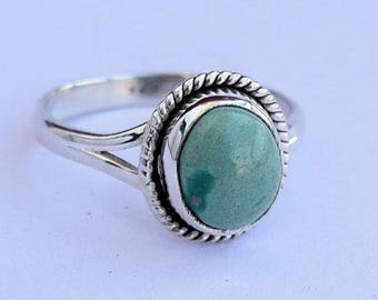 Turquoise ring, silver ring, 92.5 solid sterling silver ring, Natural Turquoise Silver Ring, 925 sterling silver(custom size, your size) 36