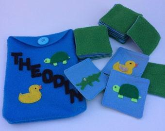 Animals Fabric/ Felt Memory Game, Matching Game Montessori inspired