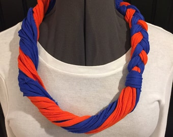 Fabric remnant T-shirt necklace/scarf- orange and blue