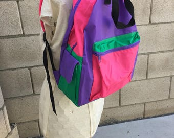 Vintage Neon 90s Backpack Retro 80s Small Hipster Rare
