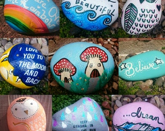 MADE TO ORDER personalised stone, paperweight, custom made stone, decorated stone,  pebble, stone made to order, hand painted stone
