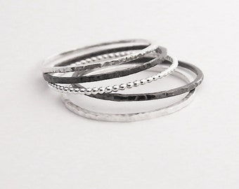 Set of 5 Silver Rings, Super Thin Hammered Rings, 925 Sterling Silver Stacking Rings, Oxidized Rings, Thin Dot Ring, Skinny 1,0 m Rings