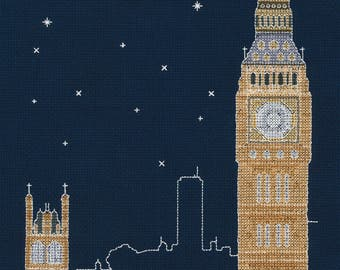 DMC BK1723 London by Night Cross Stitch Kit from the Glow in the D'Architecture Collection designed by Mr X Stitch
