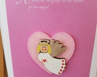 A beautiful baby girl cherished forever, Sleeping in the arms of an angel, baby sympathy card,  baby daughter bereavement card,
