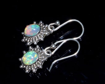 1 Inch Long 92.5 Sterling Silver Natural Multi Color Play Ethiopian Welo Fire Opal Earring, Smooth Oval Gemstone Cabochon Earring OPE10