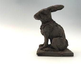 Rabbit Sculpture in Black Clay
