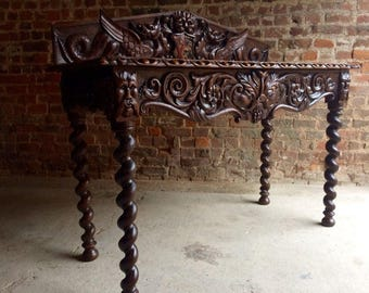 Fabulous Antique Side Table Gothic Heavily Carved 19th Century Hall Circa 1890