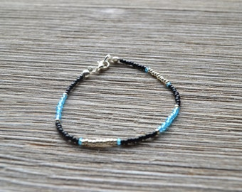 Black Blue Aqua Silver Glass Seed Bead Bracelet
