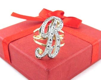 14k Yellow Gold Initial B Diamond Ring Size 7 - Two Tone Gold B Ring