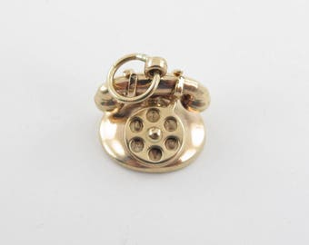 Vintage Rotary Telephone 14kt Yellow Gold 3D Phone Charm