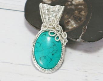 Turquoise Cabochon Pendant ~ Silver Plated Wire Wrapped ~ Handmade ~ Unique Jewellery ~ Turquoise Pendant ~ Wire Work Pendant ~ Silver