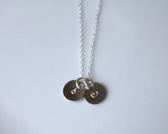 Mini Disc Charm Necklace - Sterling Silver Initial Necklace.