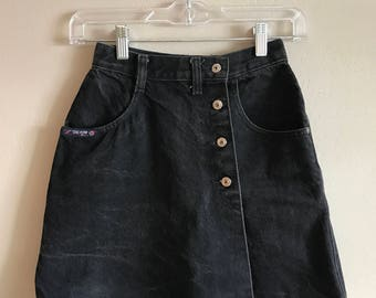Vintage 90's super high waisted raver faded black denim silver button front SKORT XS