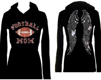Football Mom Angel Wings Rhinestone Superbowl Womens Tee Shirt Hoodie