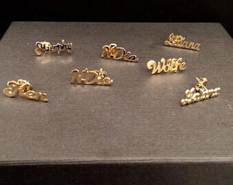 Name plate earrings | Etsy Name Plate Earrings