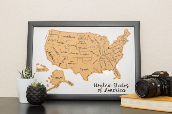 Ships Fast Scratch Your Travels Map United States Of America - Us map picture frame
