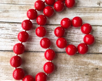Solid Red Chunky Bubblegum Necklace and Bracelet, Valentines Day Necklace, Toddler Jewelry, Bubblegum Bead Necklace, Red Baby Necklace