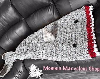 Shark blanket, sack blanket, afghan, crochet, ocean theme