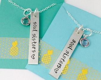 Soul Sisters Necklace, Best Friends Necklace - Hand Stamped Soul Sisters Necklace, Best Friends Necklace Set