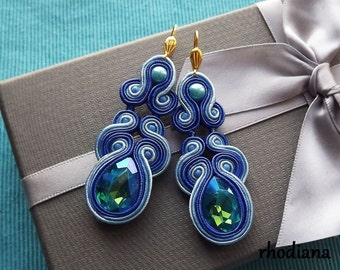 Blue with flash  soutache  earrings